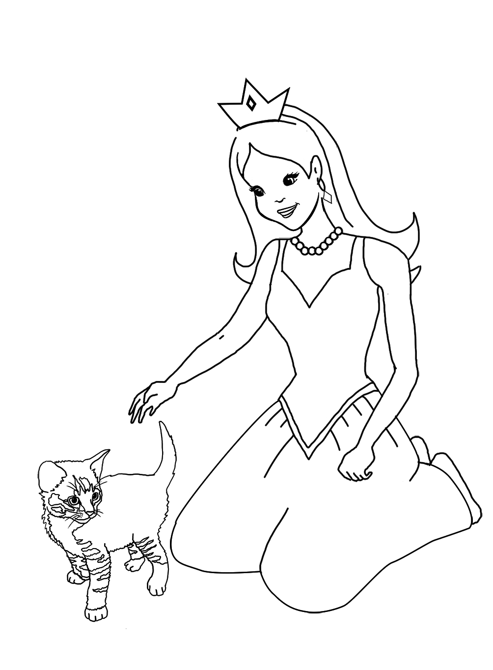 princess coloring with kitten