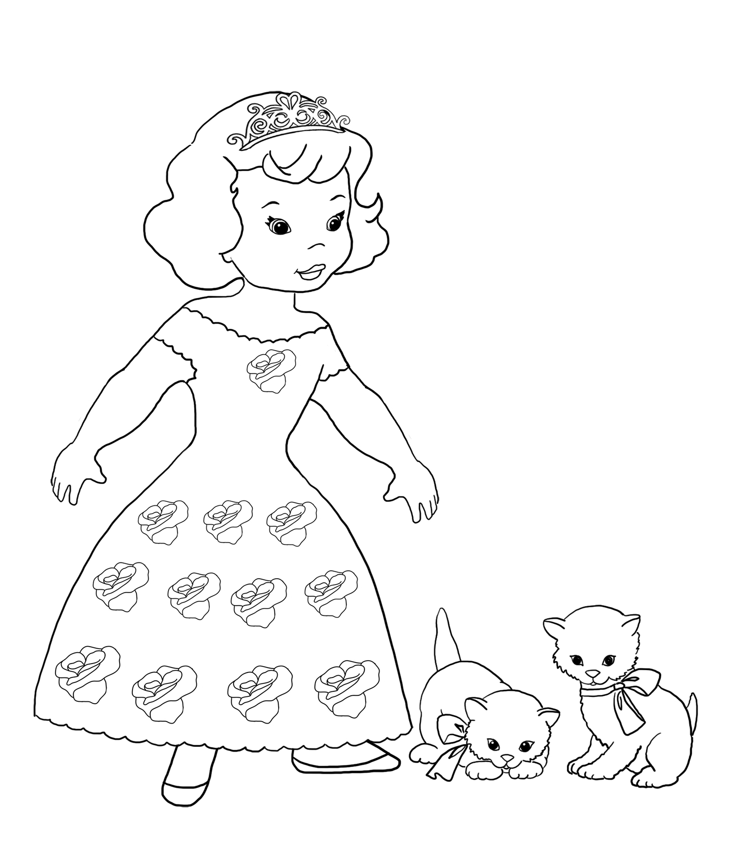 Coloring page with princess and kittens