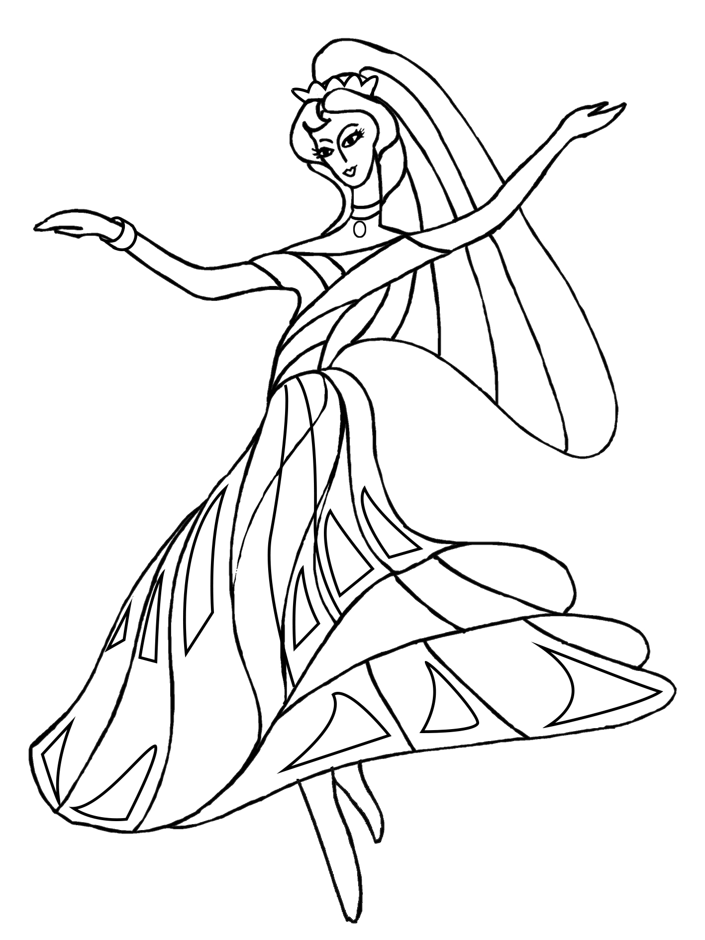 beautiful dancing princess for coloring