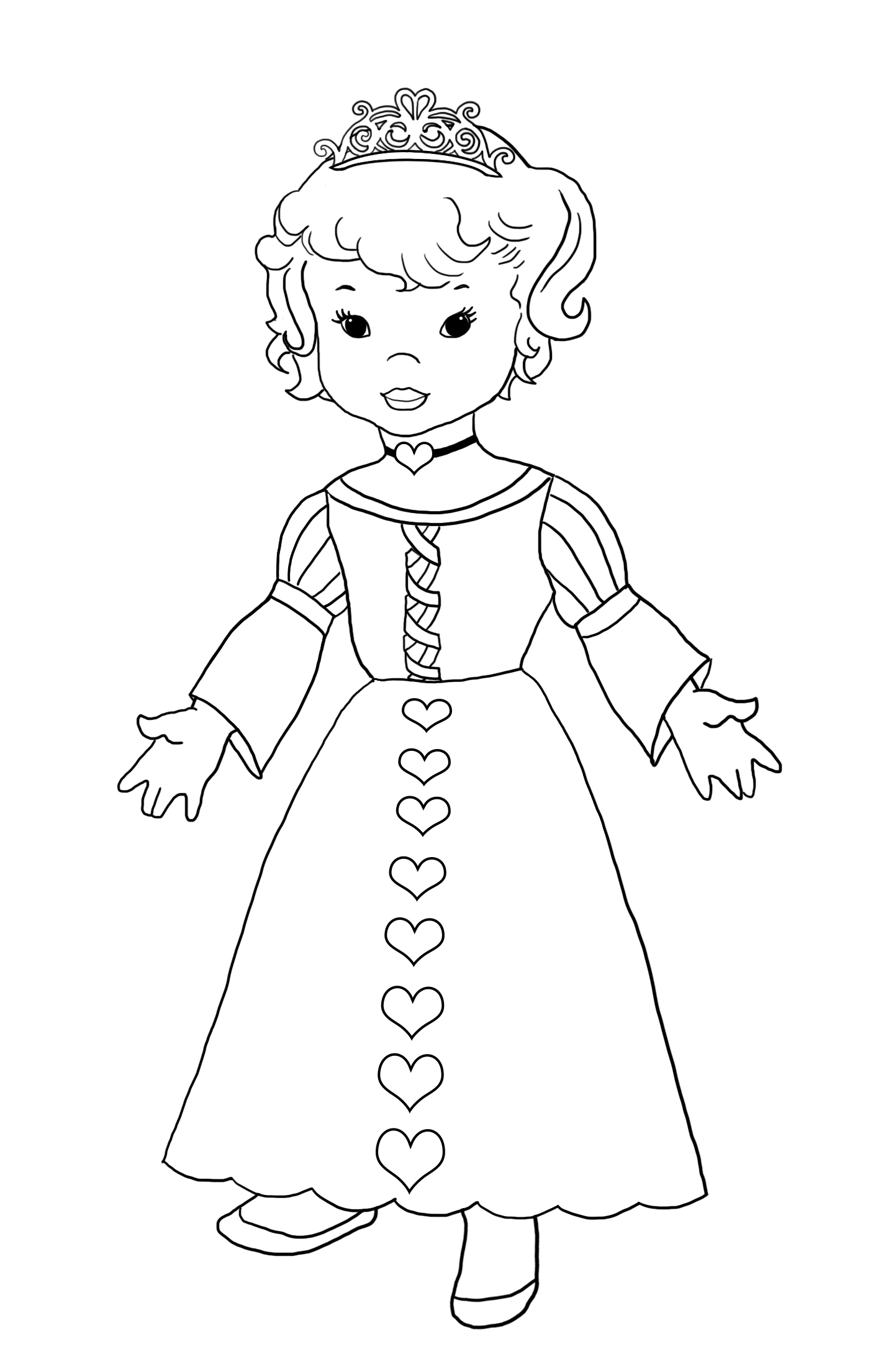 princess with dress with hearts
