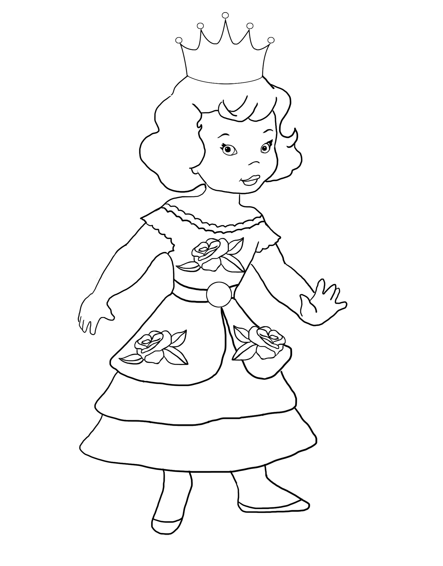 coloring page little princess rose dress