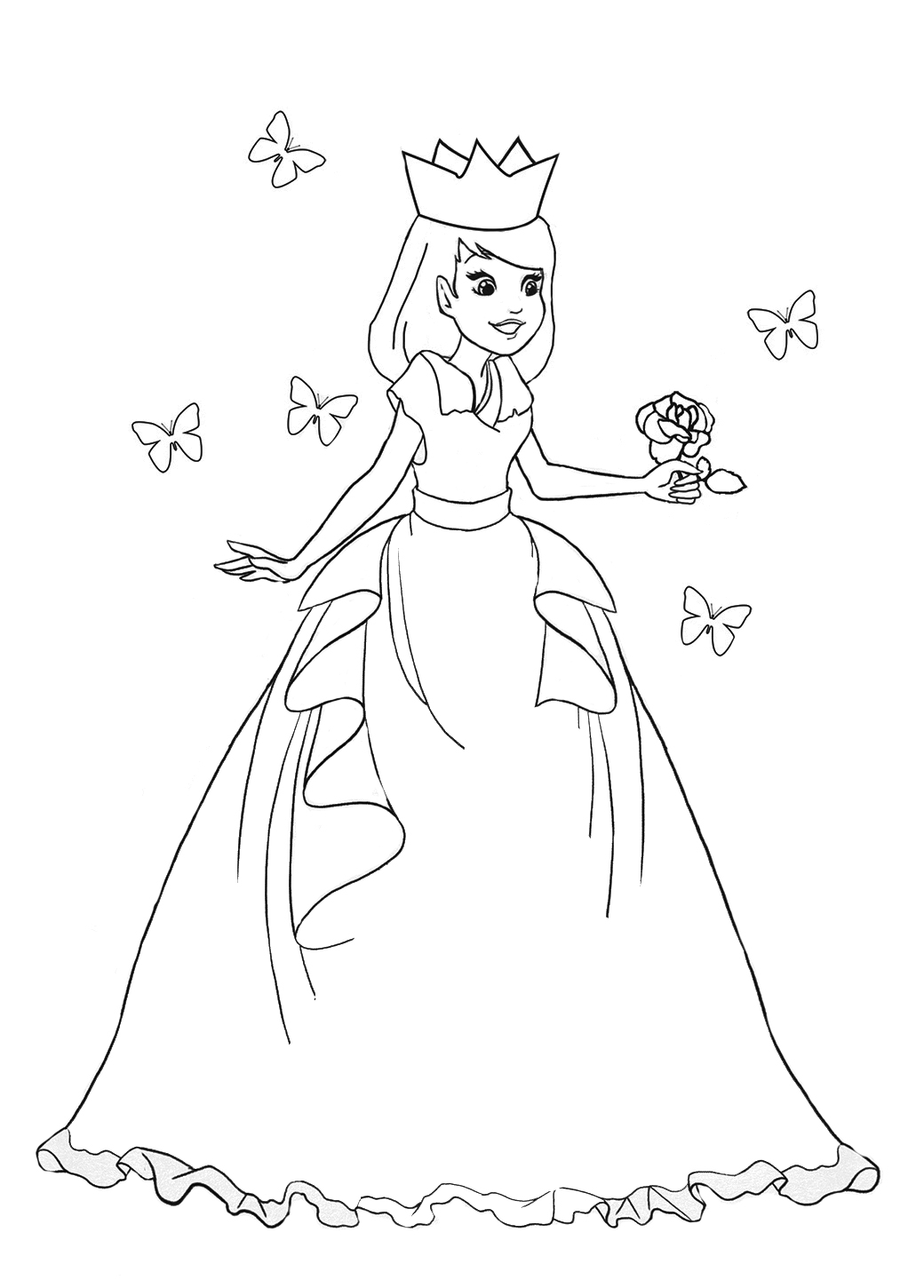 Princess coloring sheet butterfly roses