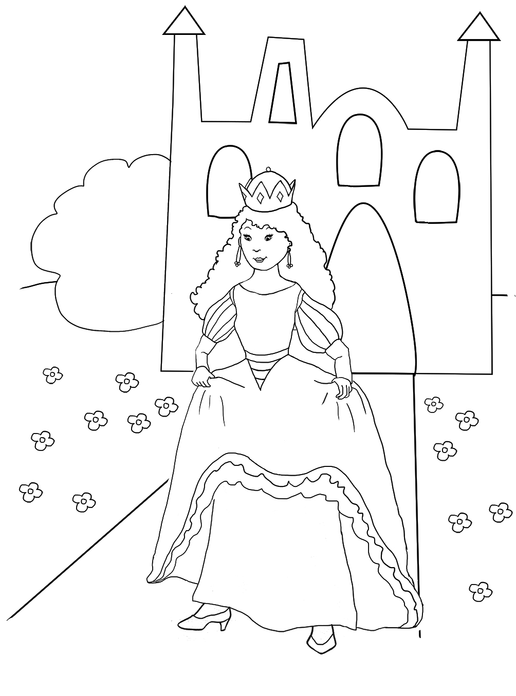 princess coloring page with castle