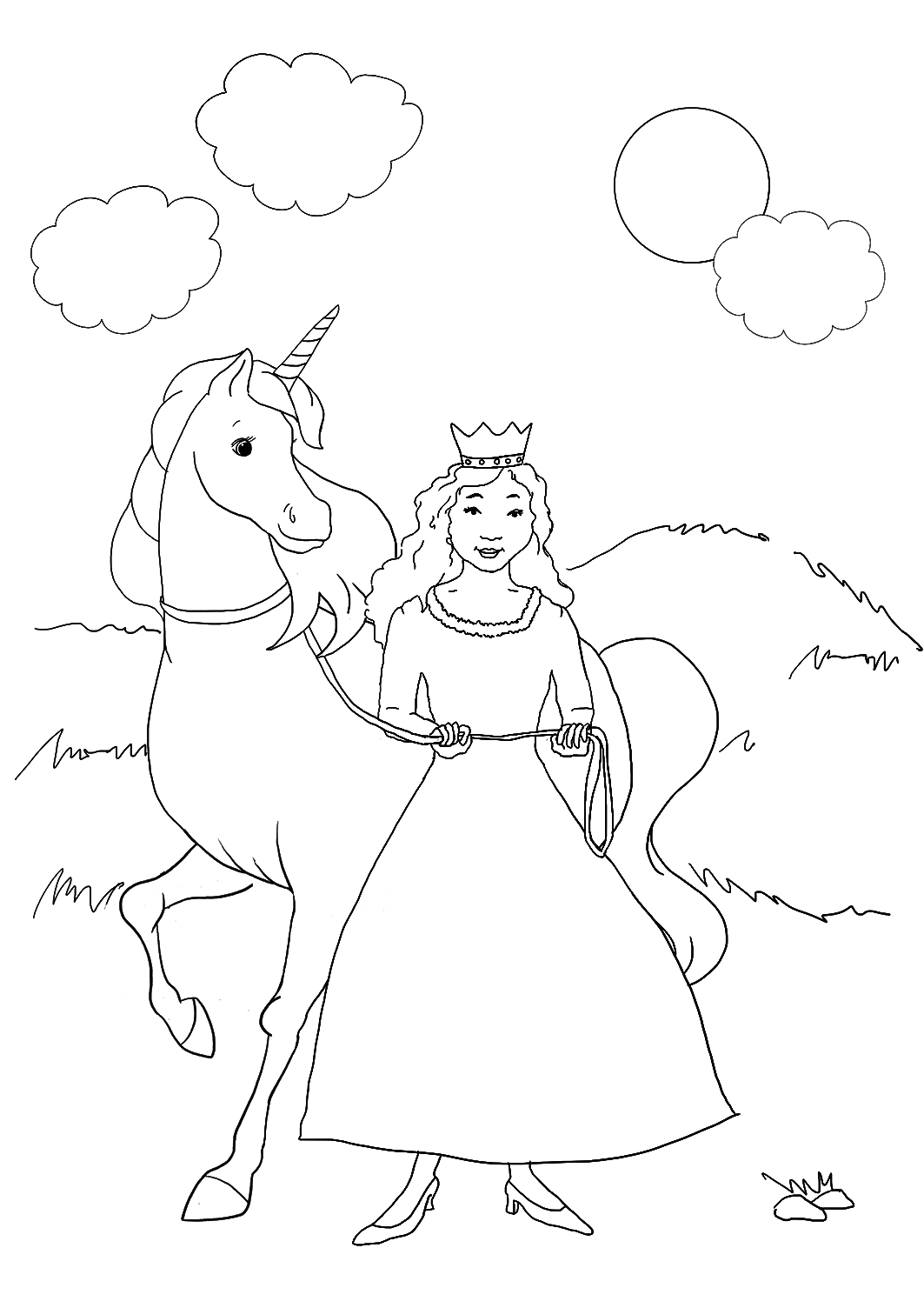 Unicorn with princess coloring pages