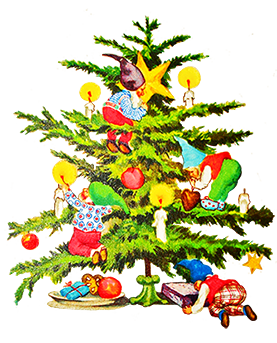 vintage Christmas tree with elves