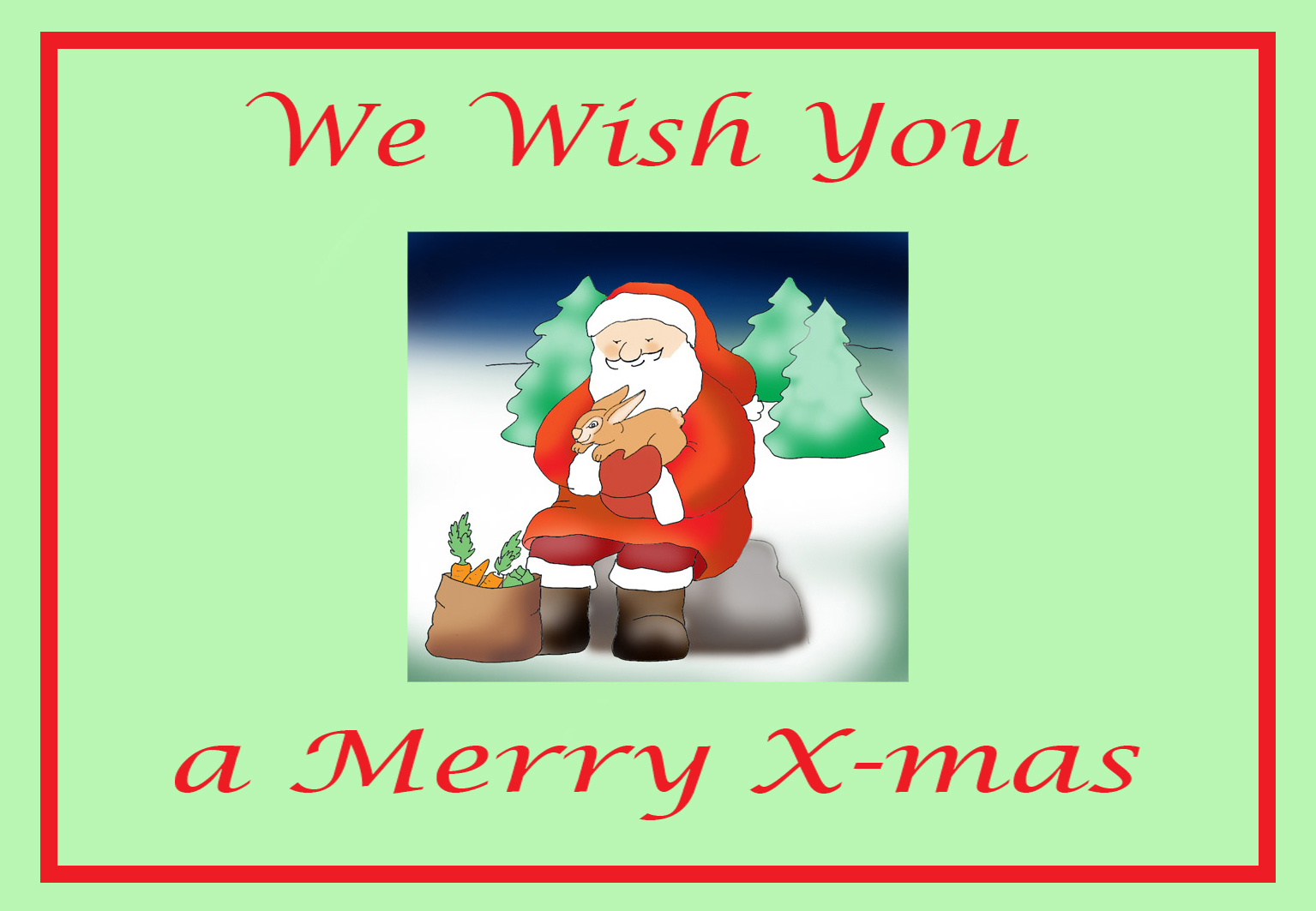 printable Christmas cards Santa with animals