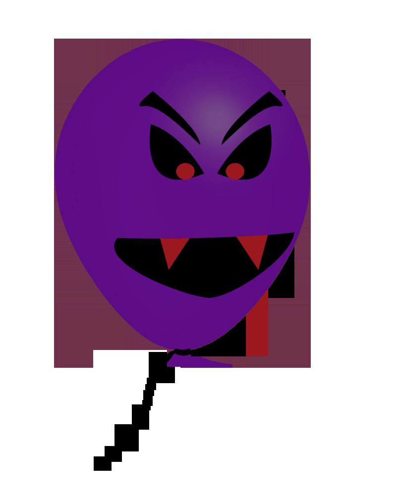 purple Halloween balloon face