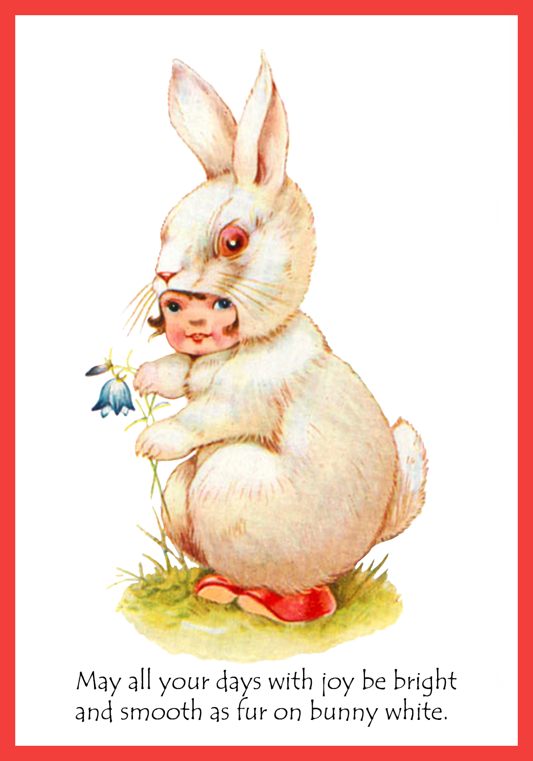 Quirky Easter card girl bunny