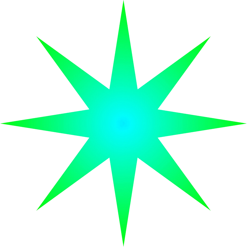 green blue radial star
