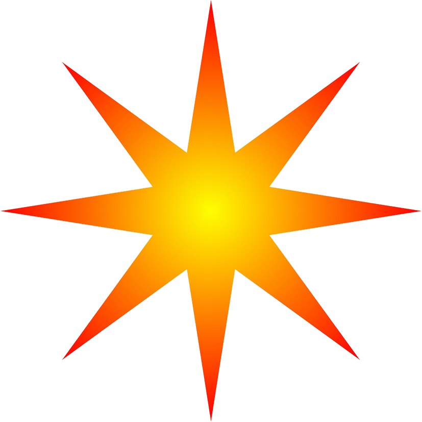 orange radial star clipart