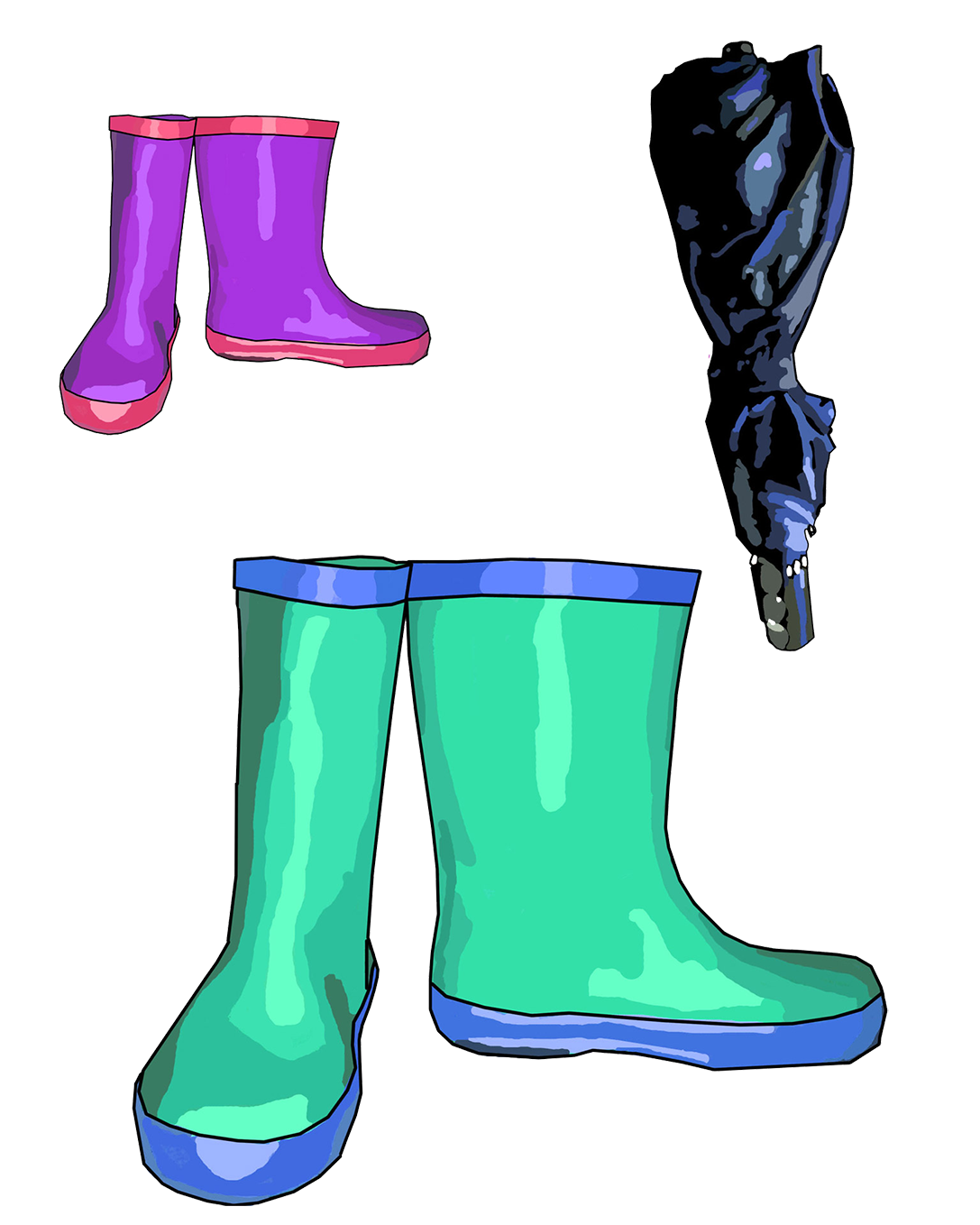 rainboots and umbrella folded