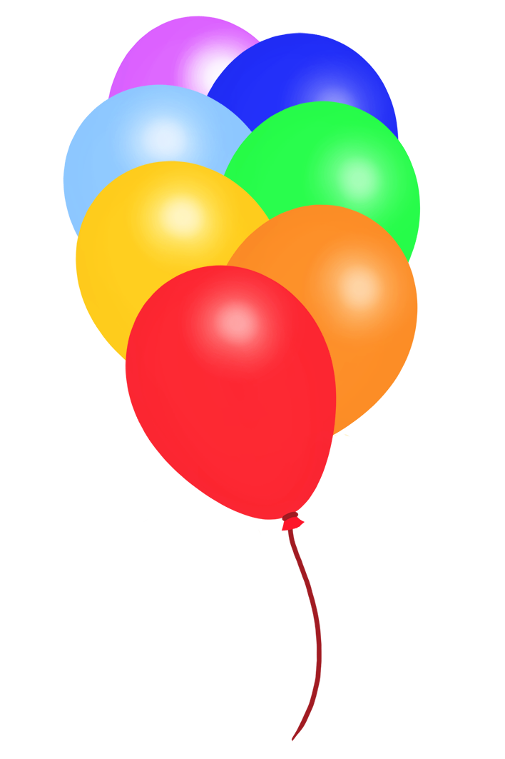 rainbow colored balloon clipart