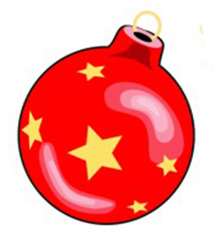 red Christmas bauble with star