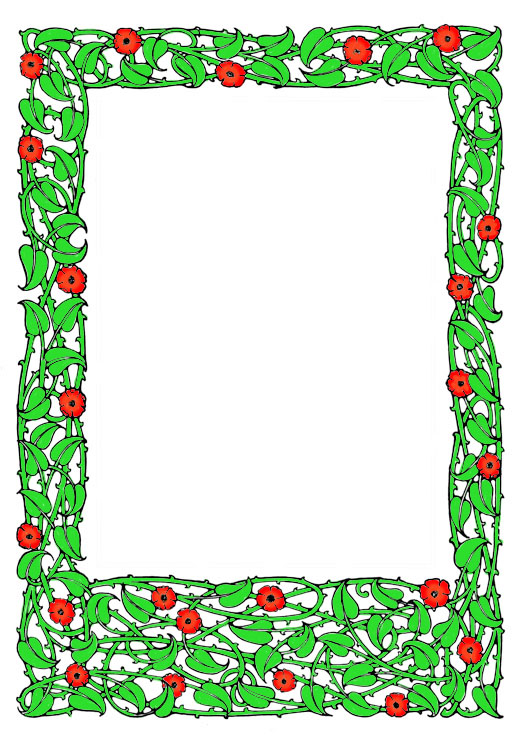 red and green flower ornament frame