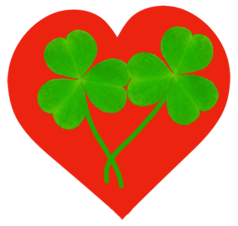 red heart with two shamrocks