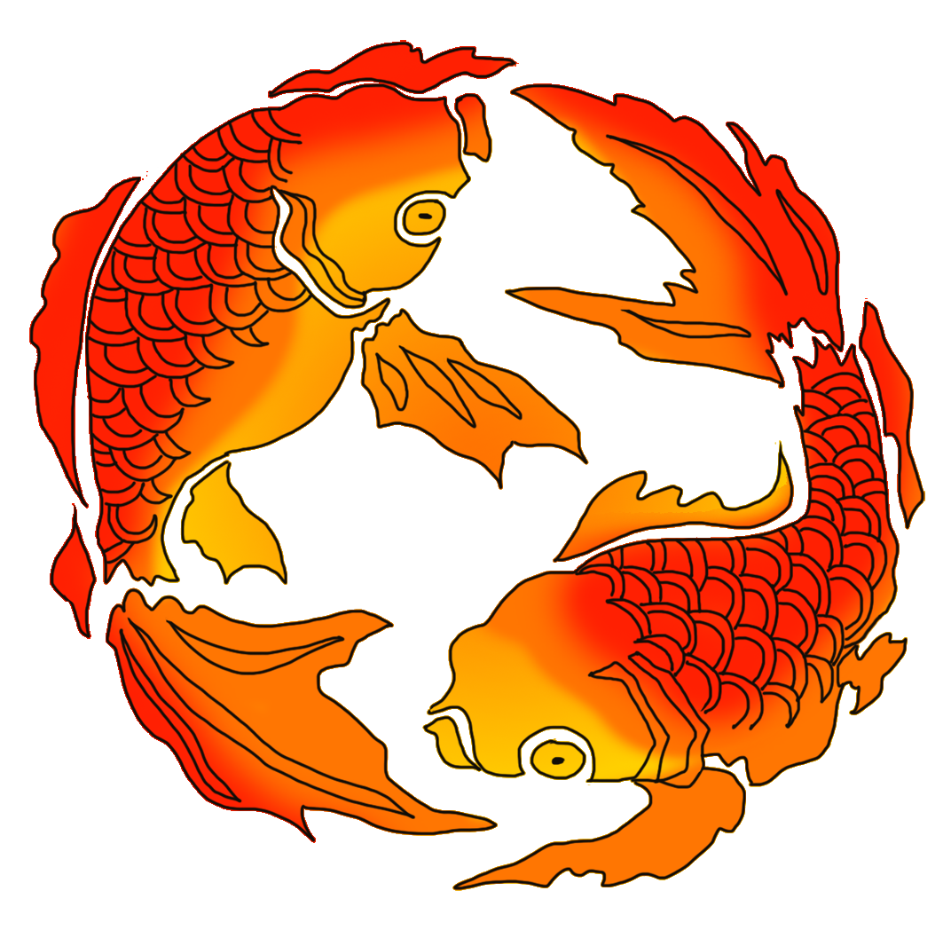 red orange Japanese koi fish drawing