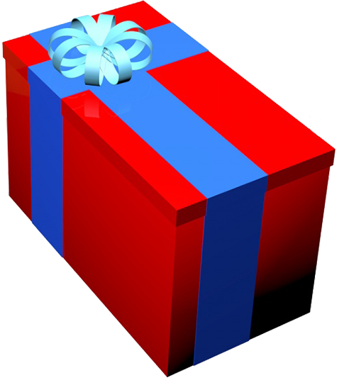 red birthday present box blue ribbon