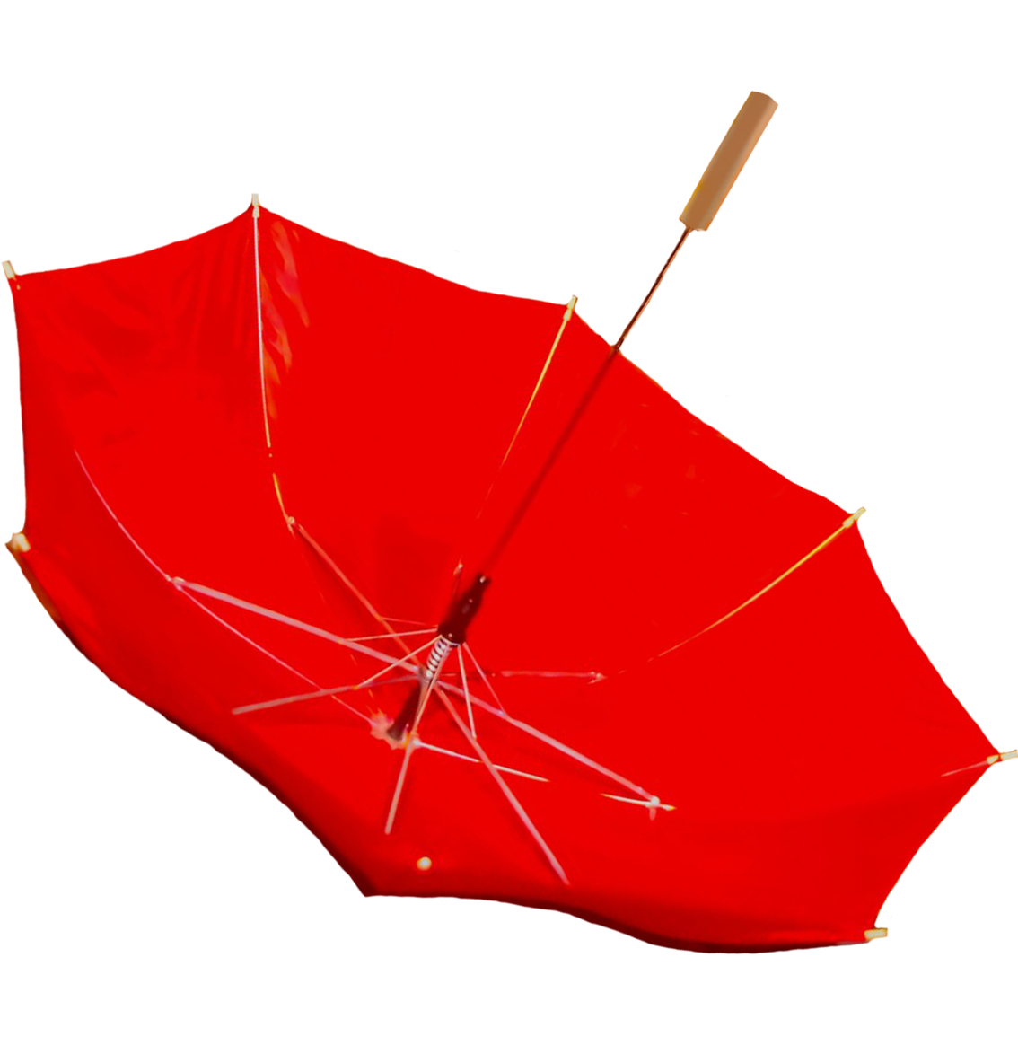 red umbrella blown upside down