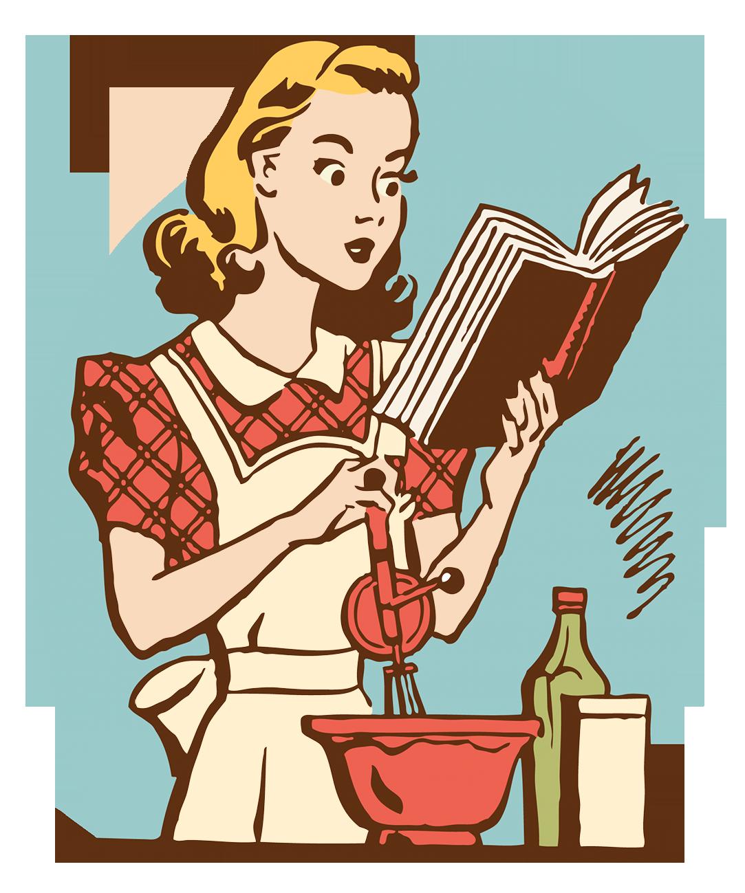 retro woman reading a cook book