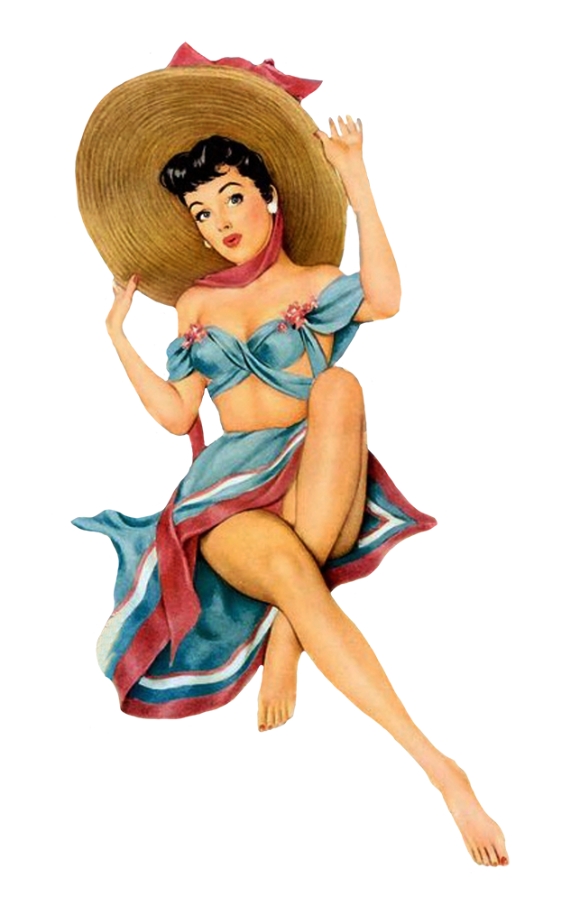 Retro Pin-up girl in beach clothing