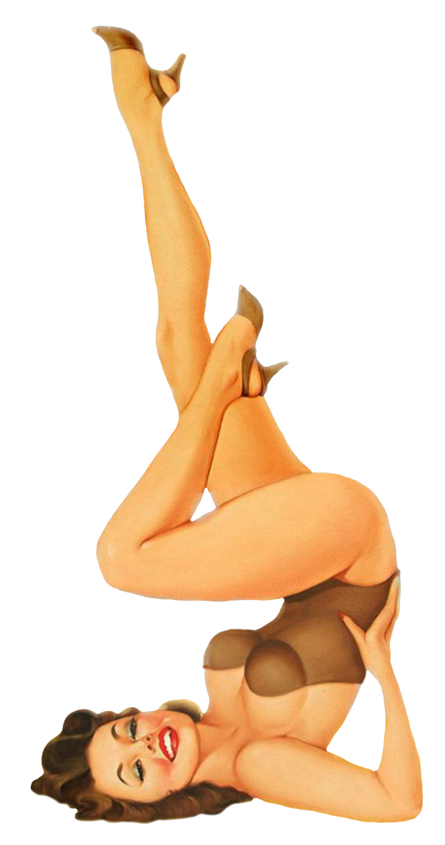 vintage pin-up girl upside down