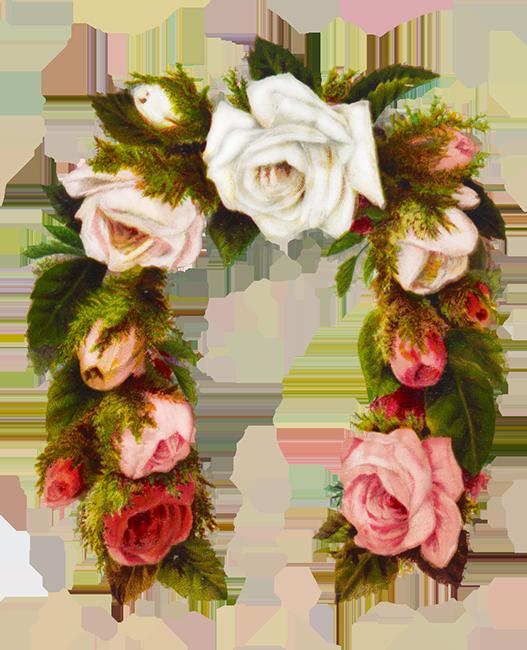 rose flower frame horse shoe shaped