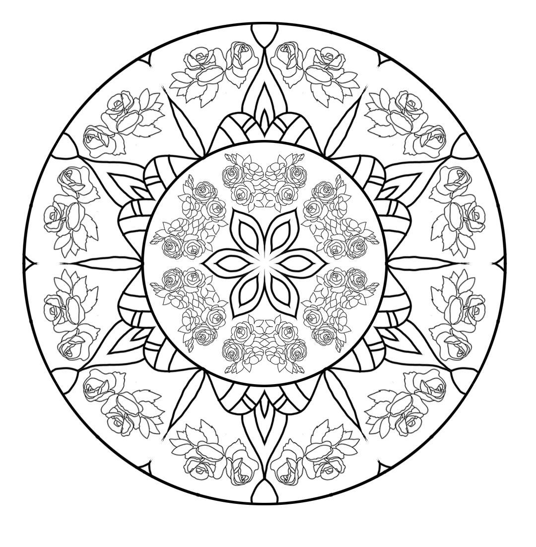 Rose mandala for coloring
