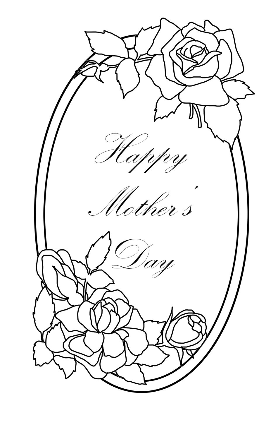 Mother's day coloring sheet roses