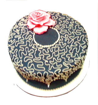 round wedding cake with swirls