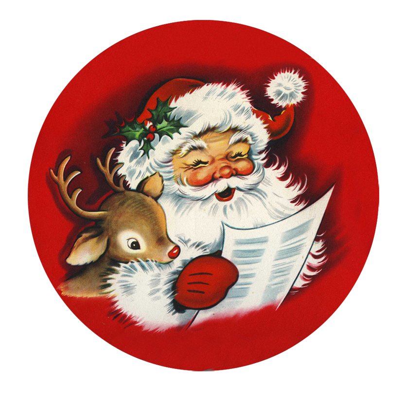 Santa and reindeer reading wish list