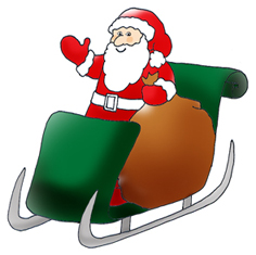 father christmas santa in sleigh