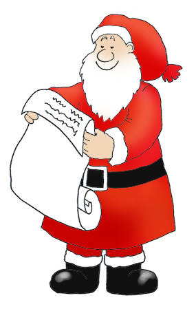 Santa Claus with Christmas wishes