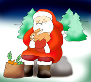 christmas clip art santa claus with hare and carrots