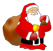 free christmas clip art santa claus with sack and bell