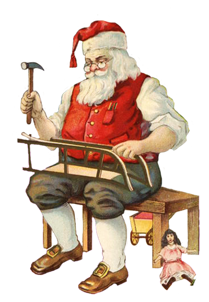 Santa working in his workshop