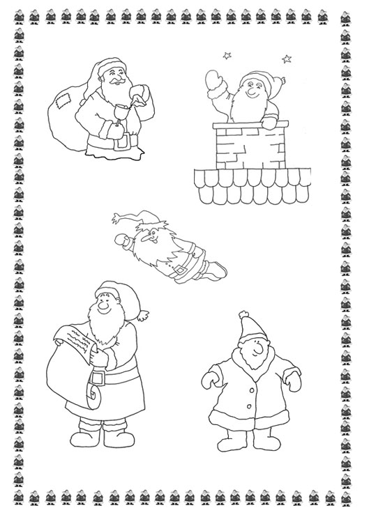 5 Santas coloring pages