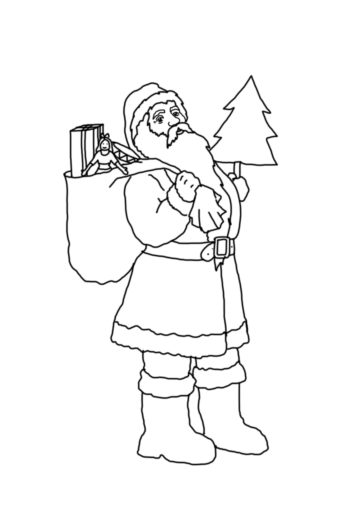 Santa with sack and Christmas tree