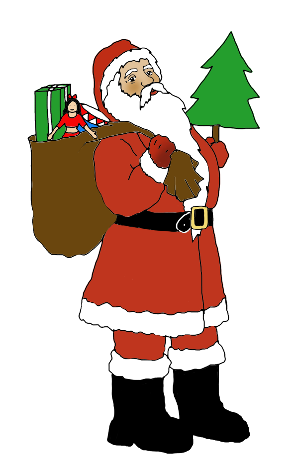 Santa clip art with sack and Christmas tree