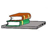 school books and computer clipart