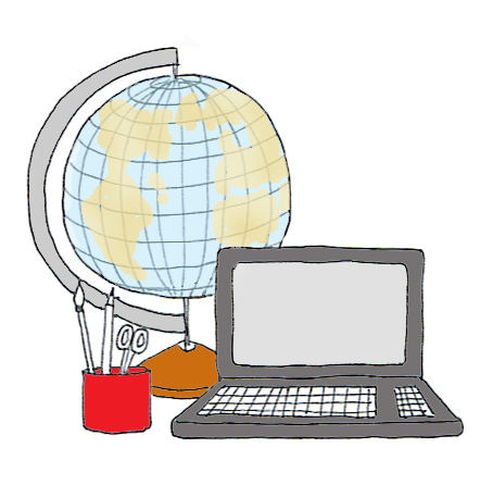globe and computer clipart