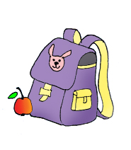 satchel school clipart apple