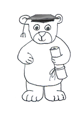 graduation teddy bear black white