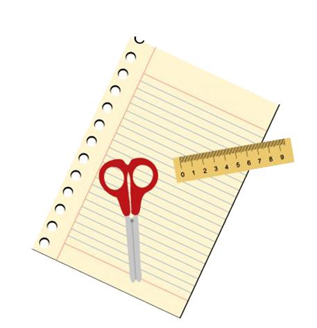 school image paper ruler scissor