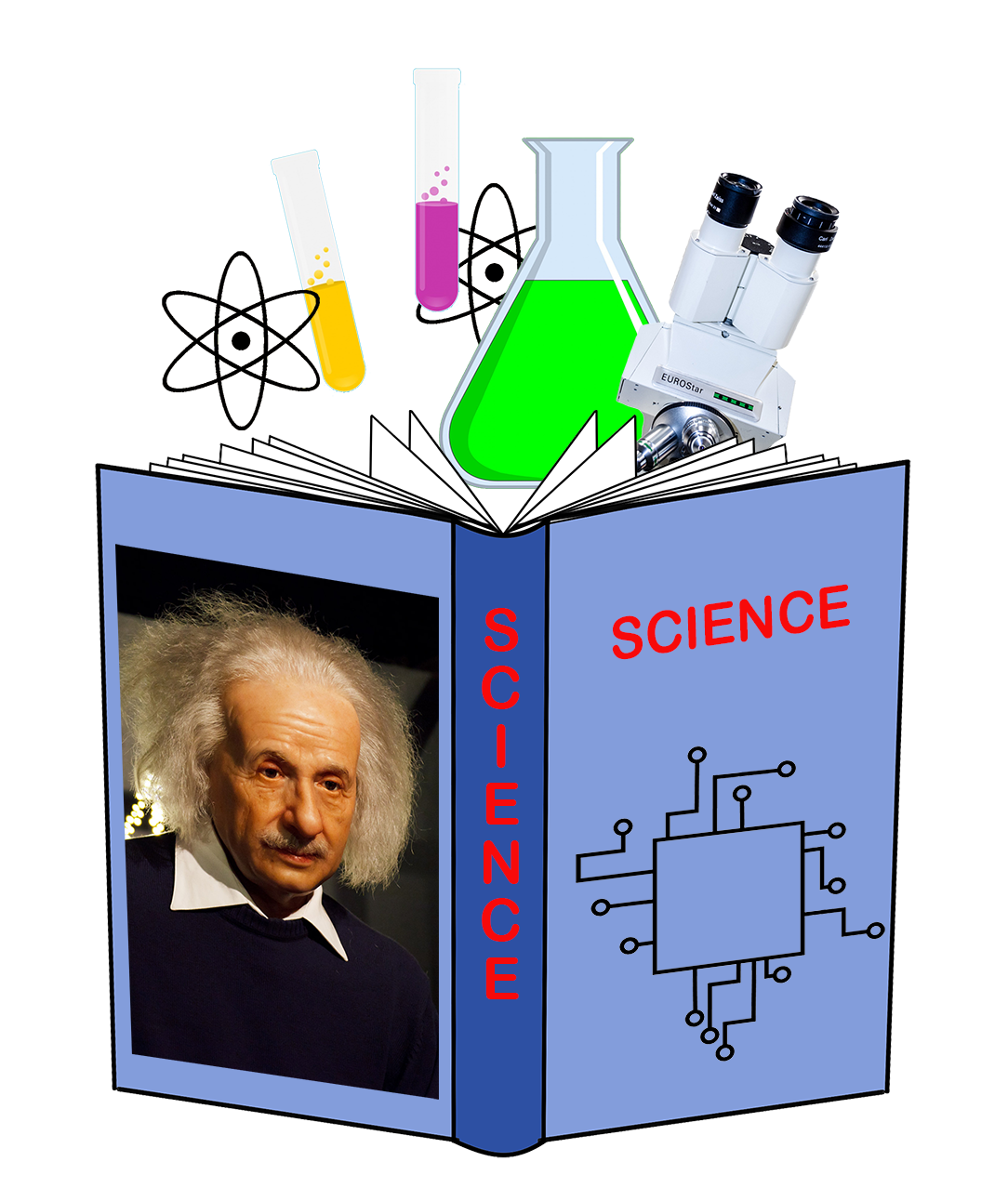 science book clipart open with pictures