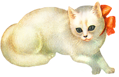 scrap image of white cat with red bow