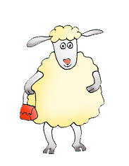 sheep with red handbag