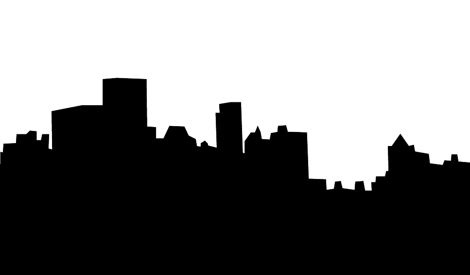 Skyline silhouette of city black white