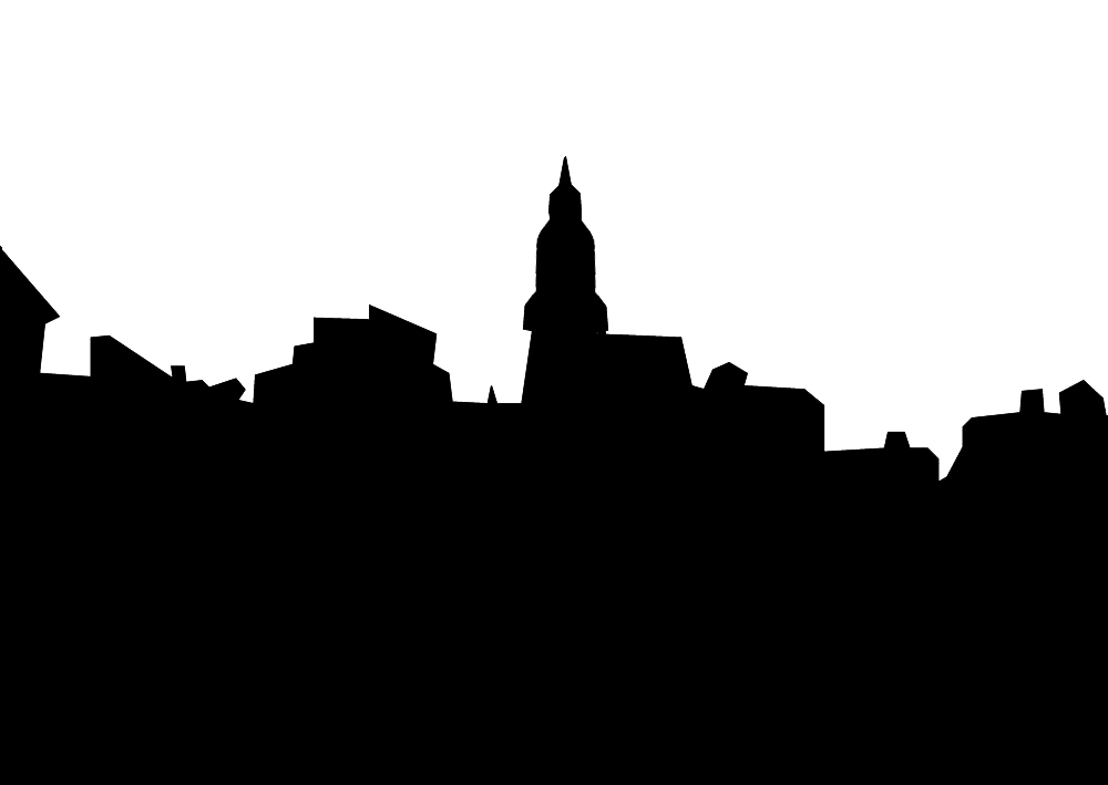 Skyline of Venice in silhouette