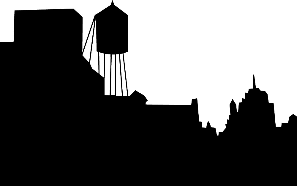 skyline silhouette with water tower