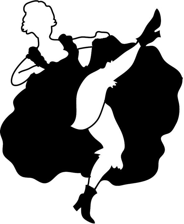 Western saloon cancan silhouette